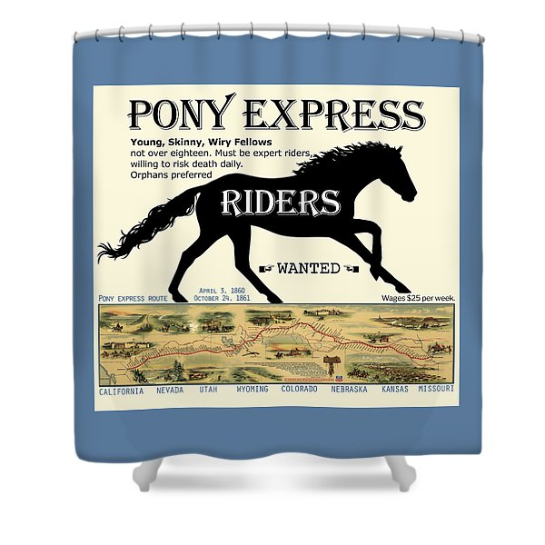 Pony Express Want Ad Shower Curtain
