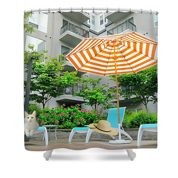 Pool Side Tabby Shower Curtain