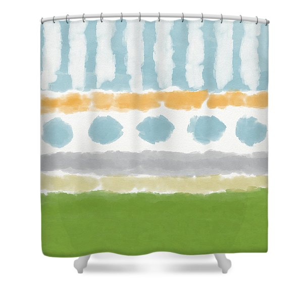 Poolside 3- Art By Linda Woods Shower Curtain