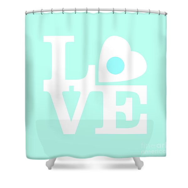 Pop Art Love In Blue Shower Curtain