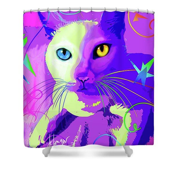 pOp Cat Cotton Shower Curtain