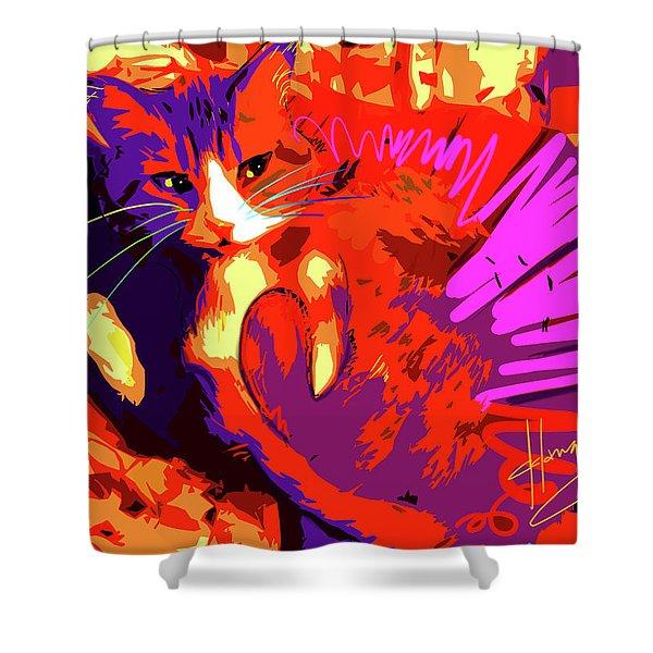 Pop Cat Tiger Shower Curtain