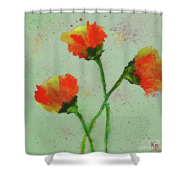 Shower Curtain featuring the painting Poppies by Karen Fleschler