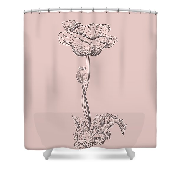 Poppy Blush Pink Flower Shower Curtain