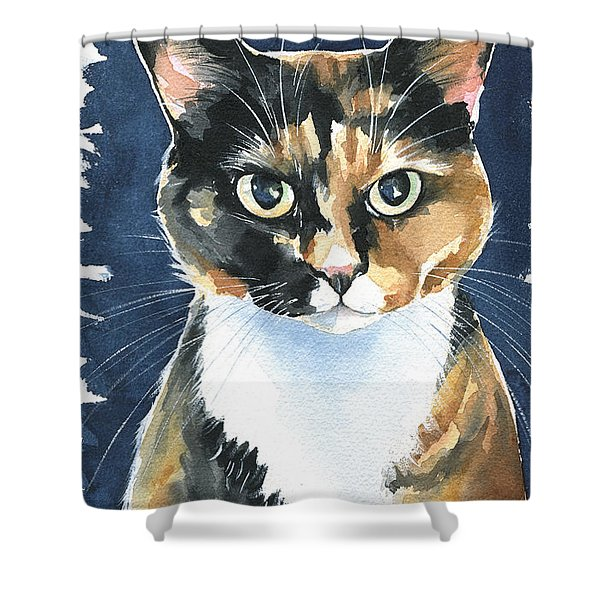 Poppy Calico Cat Painting Shower Curtain