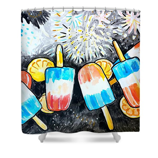 Popsicles And Fireworks Shower Curtain