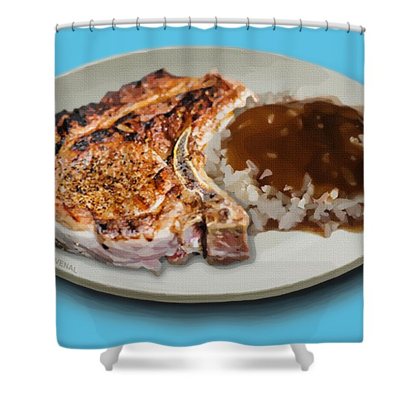 Pork Chop And Rice Shower Curtain