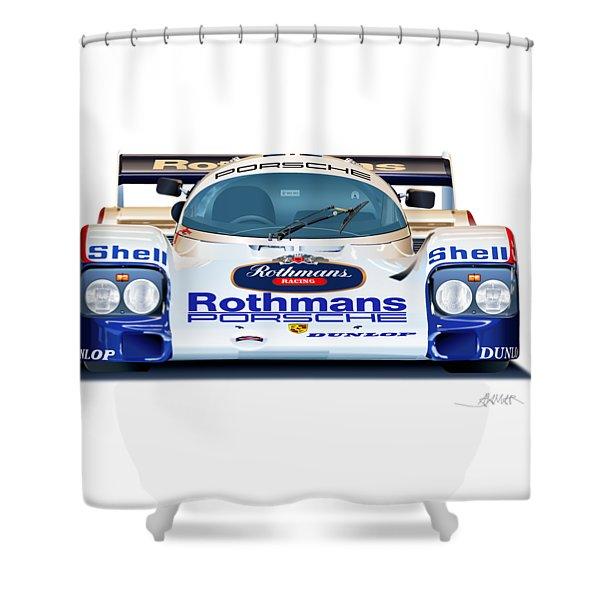 Porsche 962 Al Holbert Racing Shower Curtain