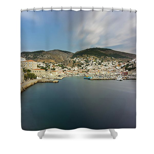 Shower Curtain featuring the photograph Port At Hydra Island by Milan Ljubisavljevic