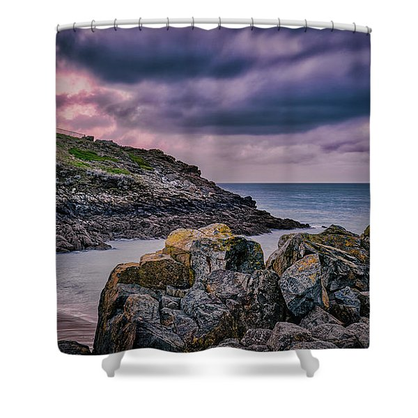 Porthgwidden Dramatic Sky Shower Curtain