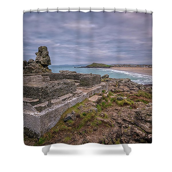 Porthmeor Beach January View Shower Curtain