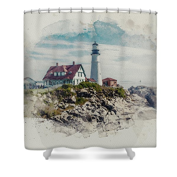 Portland Head Lighthouse Cape Elizabeth Maine Shower Curtain
