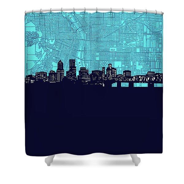 Portland Skyline Map Turquoise Shower Curtain