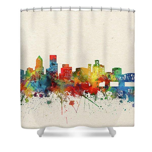 Portland Skyline Watercolor Shower Curtain