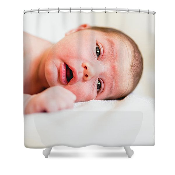 Portrait Of Newborn Baby Girl Feels Safe And Awake To A New Life. Shower Curtain
