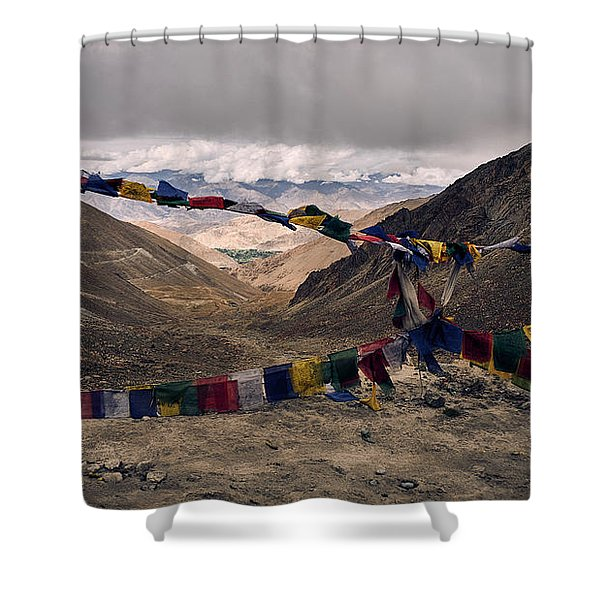 Shower Curtain featuring the photograph Prayer Flags In The Himalayas by Whitney Goodey