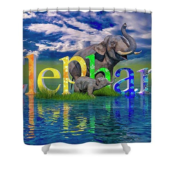 Precious E Is For Elephant Shower Curtain