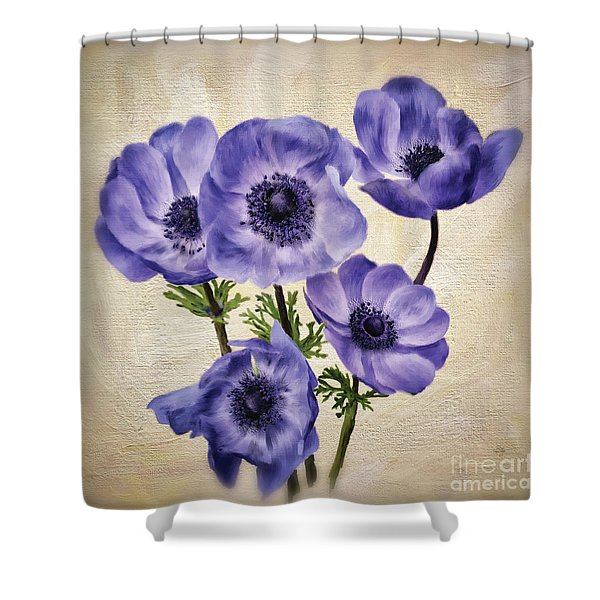 Pretty Periwinkle Poppies Shower Curtain