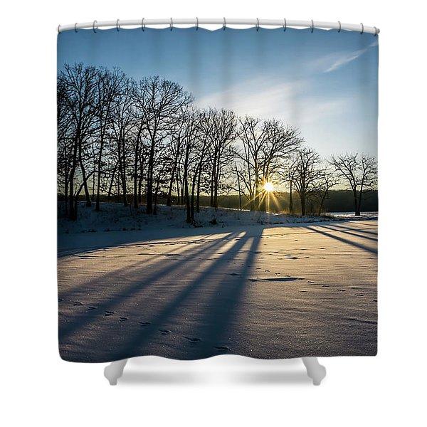Pretty Winter Sun Rise Scene Shower Curtain