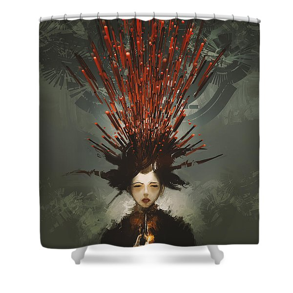 Shower Curtain featuring the painting Prey With A Gun by Tithi Luadthong