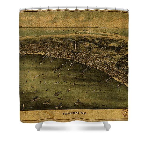 Provincetown Massachusetts Vintage City Street Map 1910 Shower Curtain