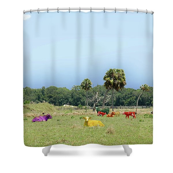 Psychedelic Cows Shower Curtain