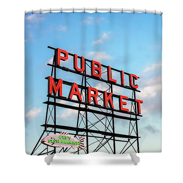 Public Market By Day Shower Curtain