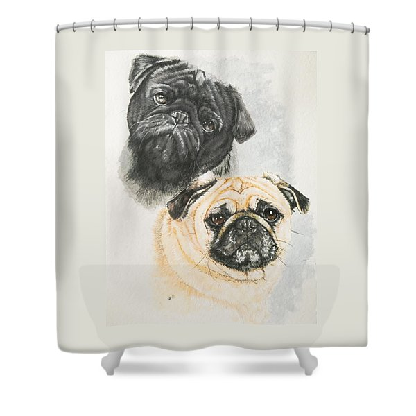 Shower Curtain featuring the painting Pug Brothers In Watercolor by Barbara Keith