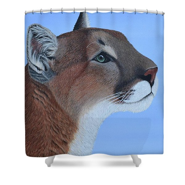 Shower Curtain featuring the painting Puma by Tracey Goodwin