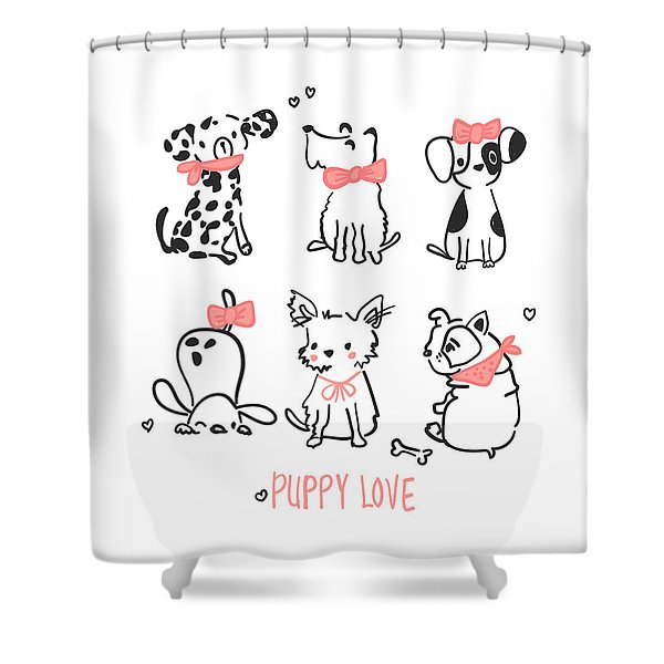 Puppy Love - Baby Room Nursery Art Poster Print Shower Curtain