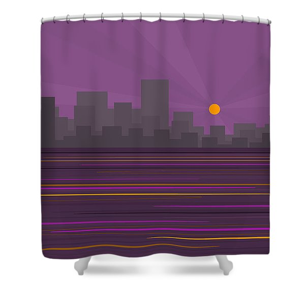 Purple City Skyline Shower Curtain