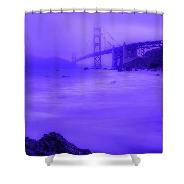 Purple Golden Gate Fog Shower Curtain