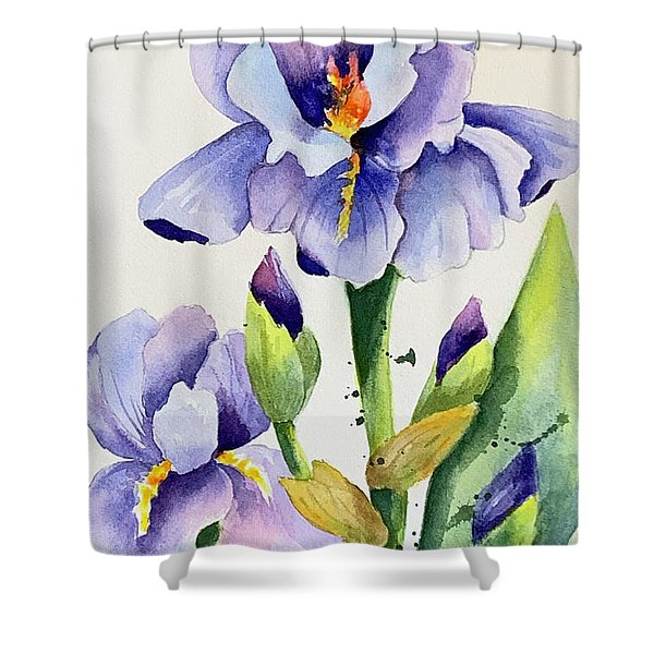 Purple Iris And Buds Shower Curtain