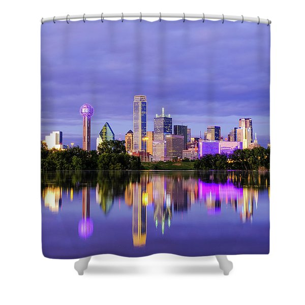 Purple Rain City Of Dallas Texas Shower Curtain