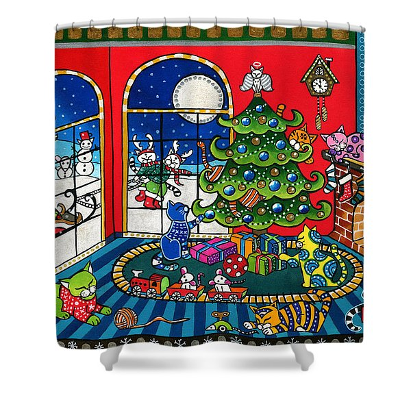 Purrfect Christmas Cat Painting Shower Curtain