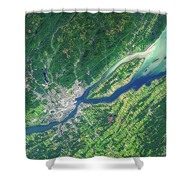 Quebec City From Space Shower Curtain