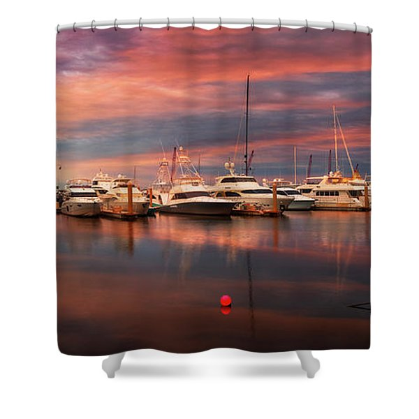 Quiet Evening On The Marina Shower Curtain