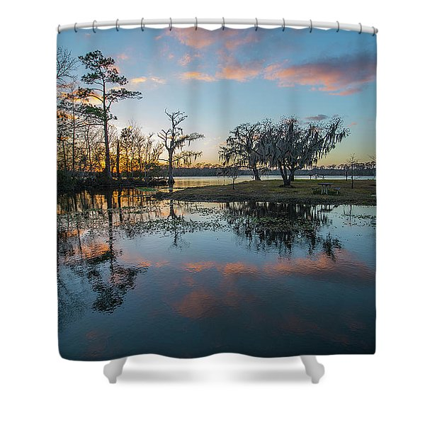 Shower Curtain featuring the photograph Quiet River Sunset by Tom Gresham