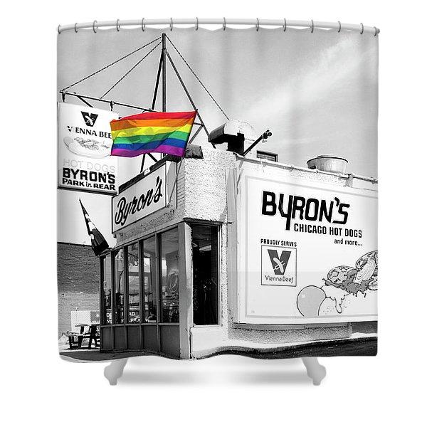 Rainbow Dog Byrons Hot Dogs Shower Curtain