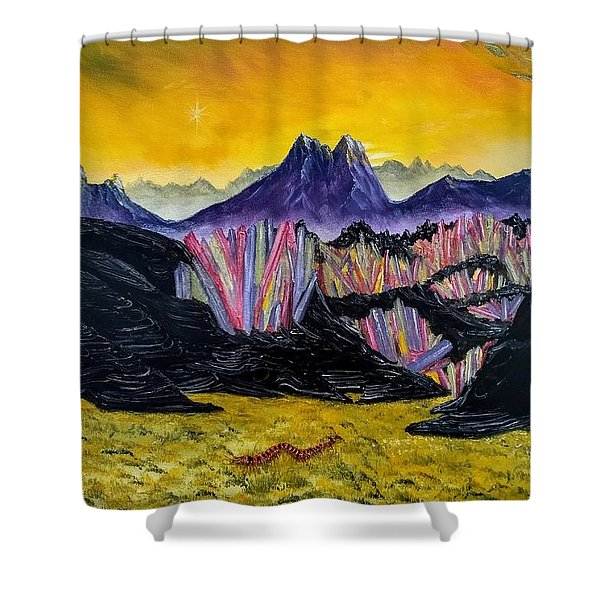 Shower Curtain featuring the painting Rainbow Fries And Centipedes Somewhere In The Multiverse by Kevin Daly