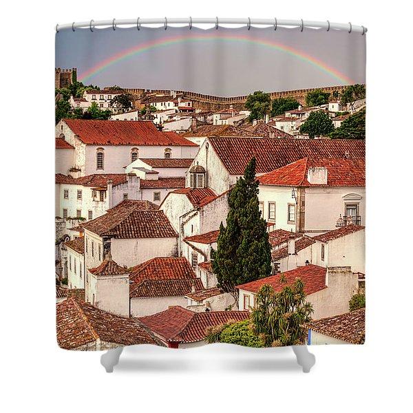 Rainbow Over Castle Shower Curtain