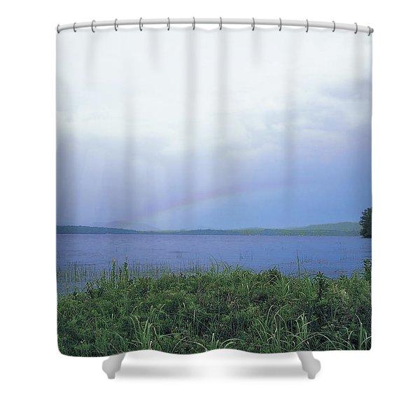 Rainbow Over Raquette Lake Shower Curtain