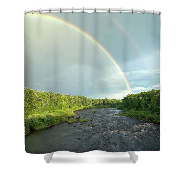 Rainbow Over The Littlefork River Shower Curtain