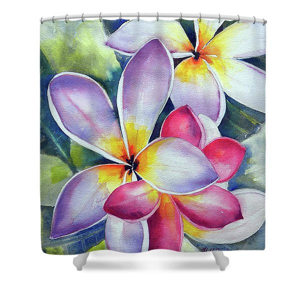 Rainbow Plumerias Shower Curtain