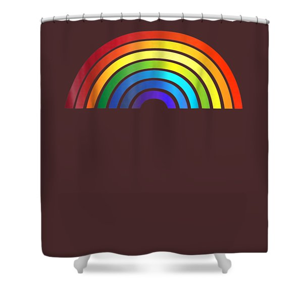 Rainbow T-shirt Simple Style Basic Glossy Stripe Design Shower Curtain