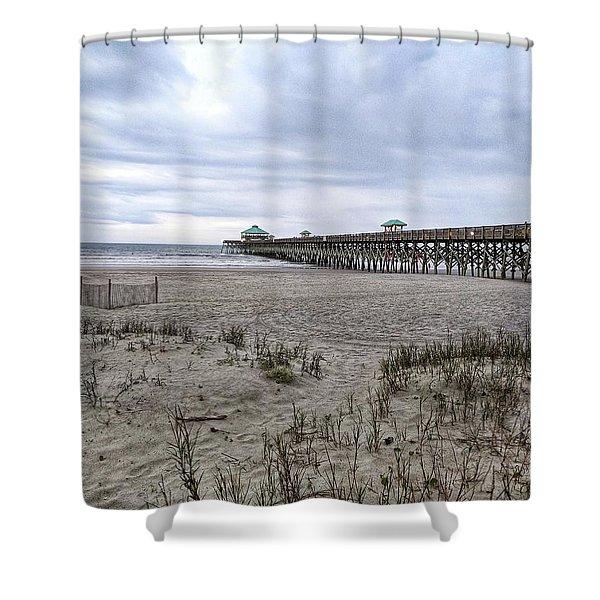 Rainy Beach Day Shower Curtain