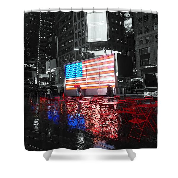 Rainy Days In Time Square  Shower Curtain
