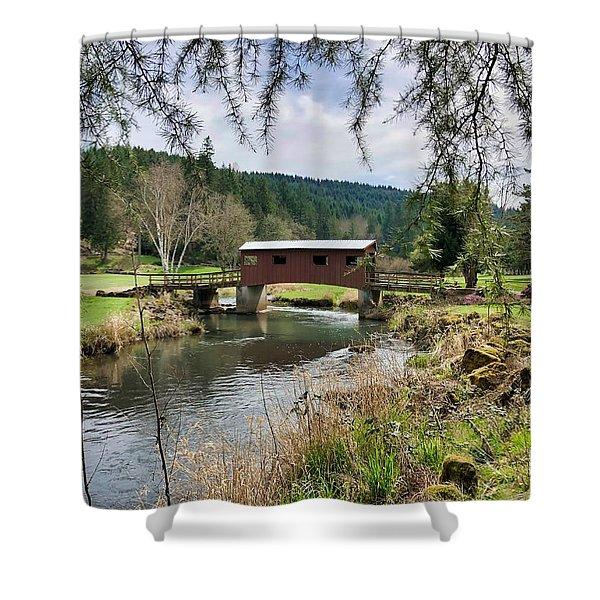 Ranch Hills Covered Bridge Shower Curtain