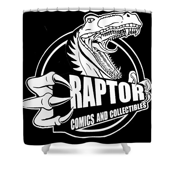 Raptor Comics Black Shower Curtain