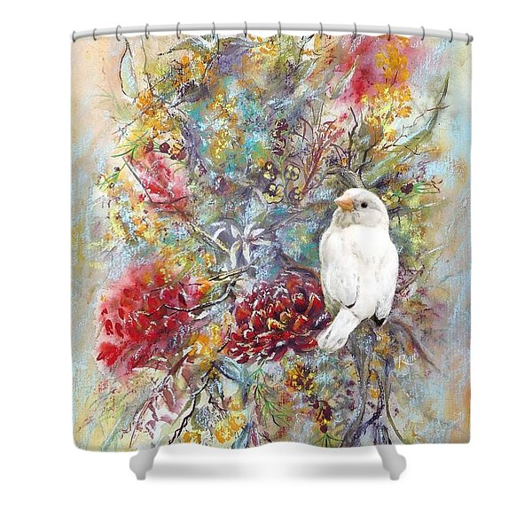 Rare White Sparrow - Portrait View. Shower Curtain